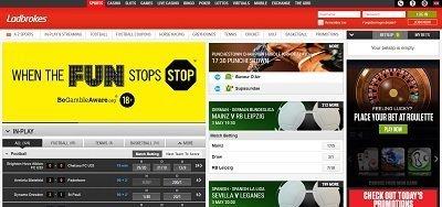 Ladbrokes website screenshot